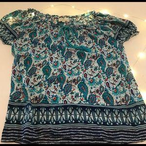 Grand&Greene teal paisley flowy blouse